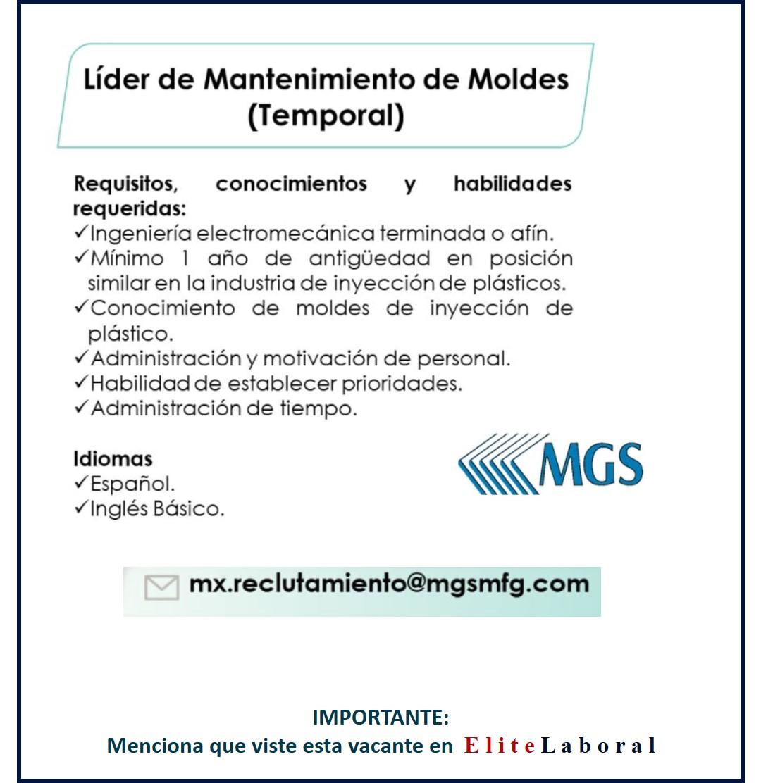 VACANTE LIDER DE MANTENIMIENTO DE MOLDES