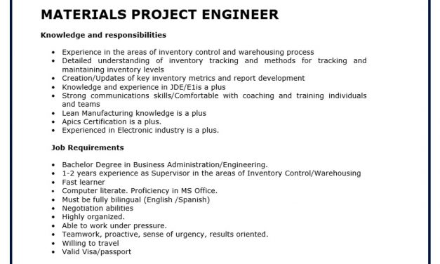 VACANTE MATERIALS PROJECT ENGINEER