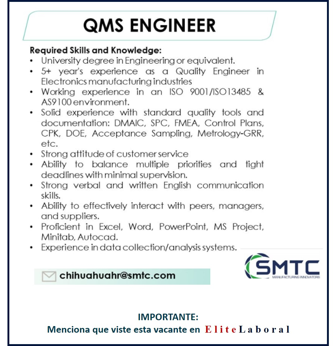 VACANTE QMS ENGINEER