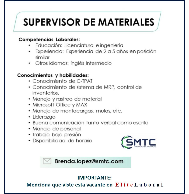 VACANTE SUPERVISOR DE MATERIALES