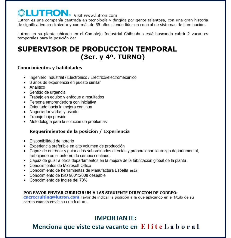 VACANTE SUPERVISOR DE PRODUCCION TEMPORAL