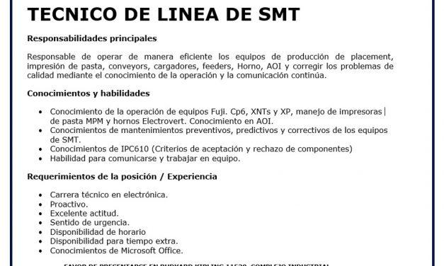 VACANTE TECNICO DE LINEA DE SMT