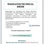 VACANTE TRANSLATOR TECHNICAL WRITER