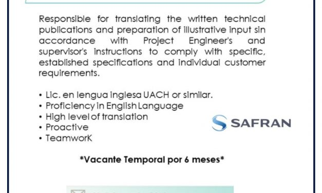 VACANTE TRANSLATOR TECHNICAL WRITER