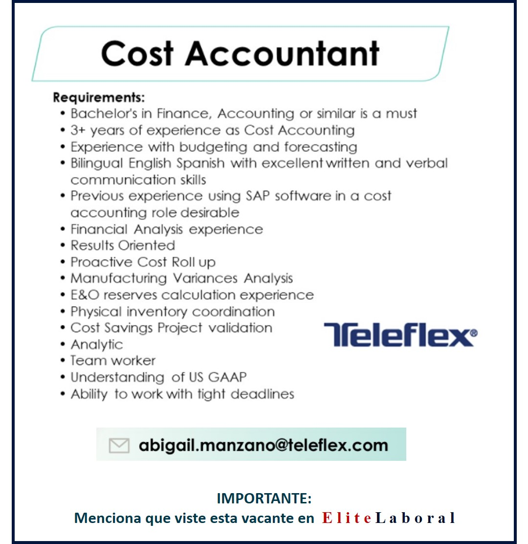 VACANTE COST ACCOUNTANT