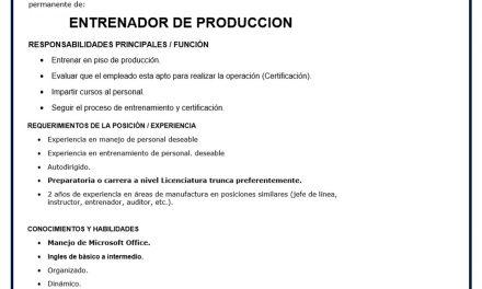 VACANTE ENTRENADOR DE PRODUCCION LUTRON