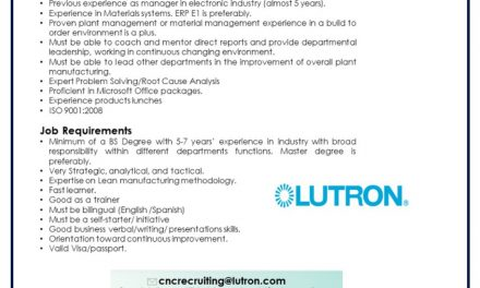 VACANTE MANUFACTURING OPERATION MANAGER
