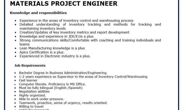 VACANTE MATERIALS PROJECT ENGINEER LUTRON
