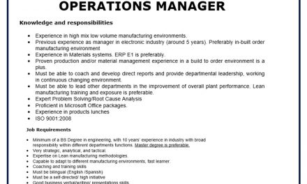 VACANTE OPERATIONS MANAGER lutron
