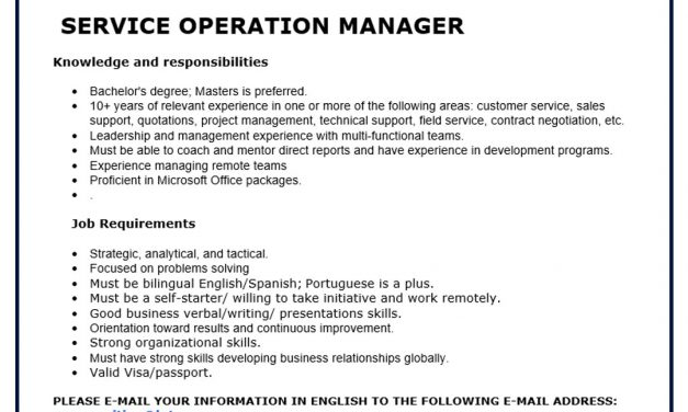VACANTE SERVICE OPERATION MANAGER LUTRON