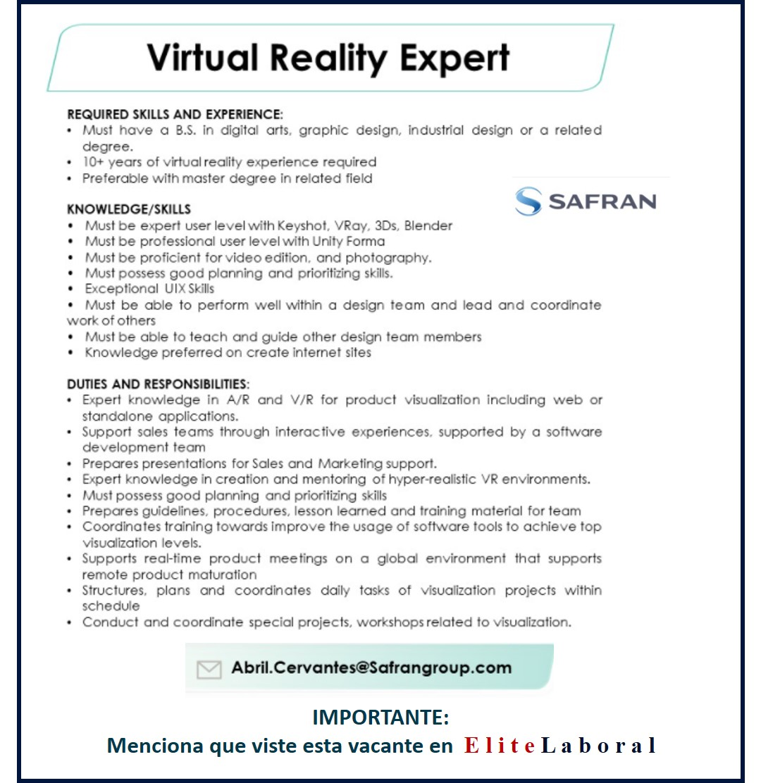 VACANTE VIRTUAL REALITY EXPERT