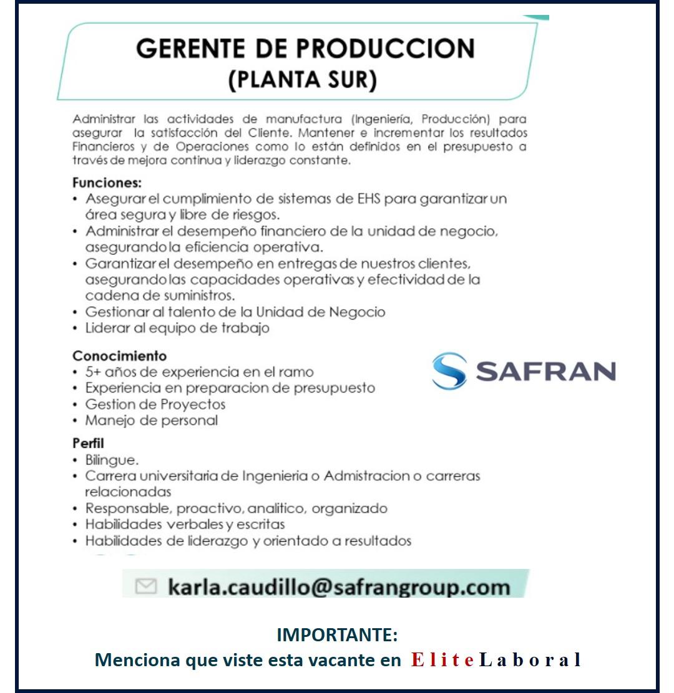 VACANTE GERENTE DE PRODUCCION