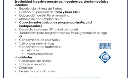 VACANTE INGENIERO METAL MECANICO CNC