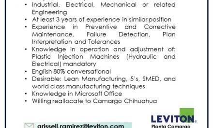 VACANTE INJECTION MOLDING SUPERVISOR