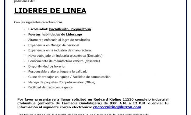 VACANTE LIDERES DE LINEA LUTRON