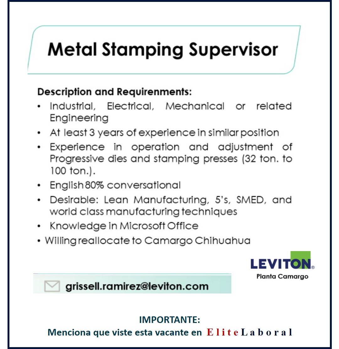VACANTE METAL STAMPING SUPERVISOR