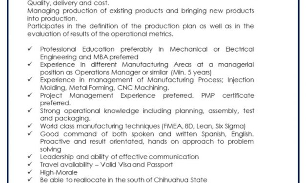 VACANTE OPERATIONS MANAGER