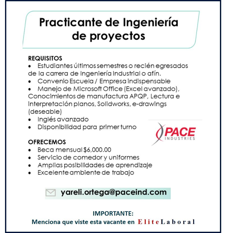 VACANTE PRACTICANTE DE INGENIERIA DE PROYECTOS
