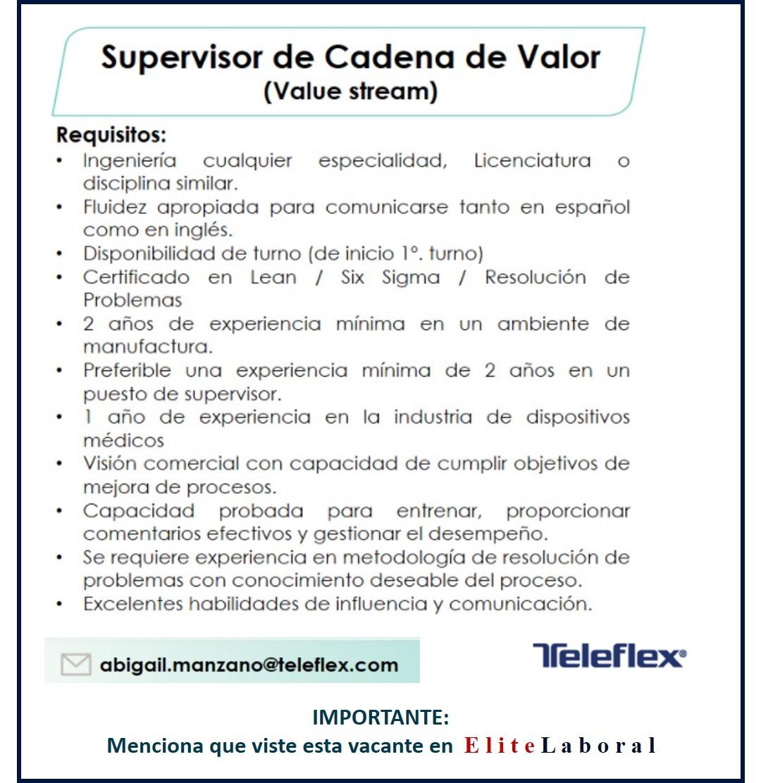 VACANTE SUPERVISOR DE CADENA DE VALOR