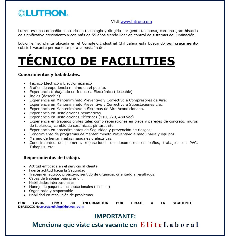 VACANTE TECNICO DE FACILITIES LUTRON