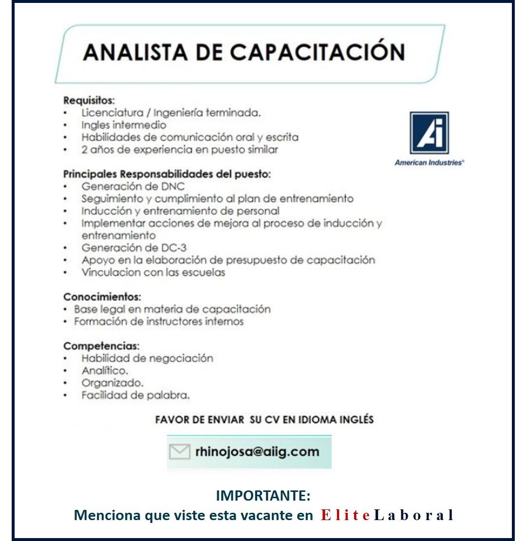 VACANTE ANALISTA DE CAPACITACION