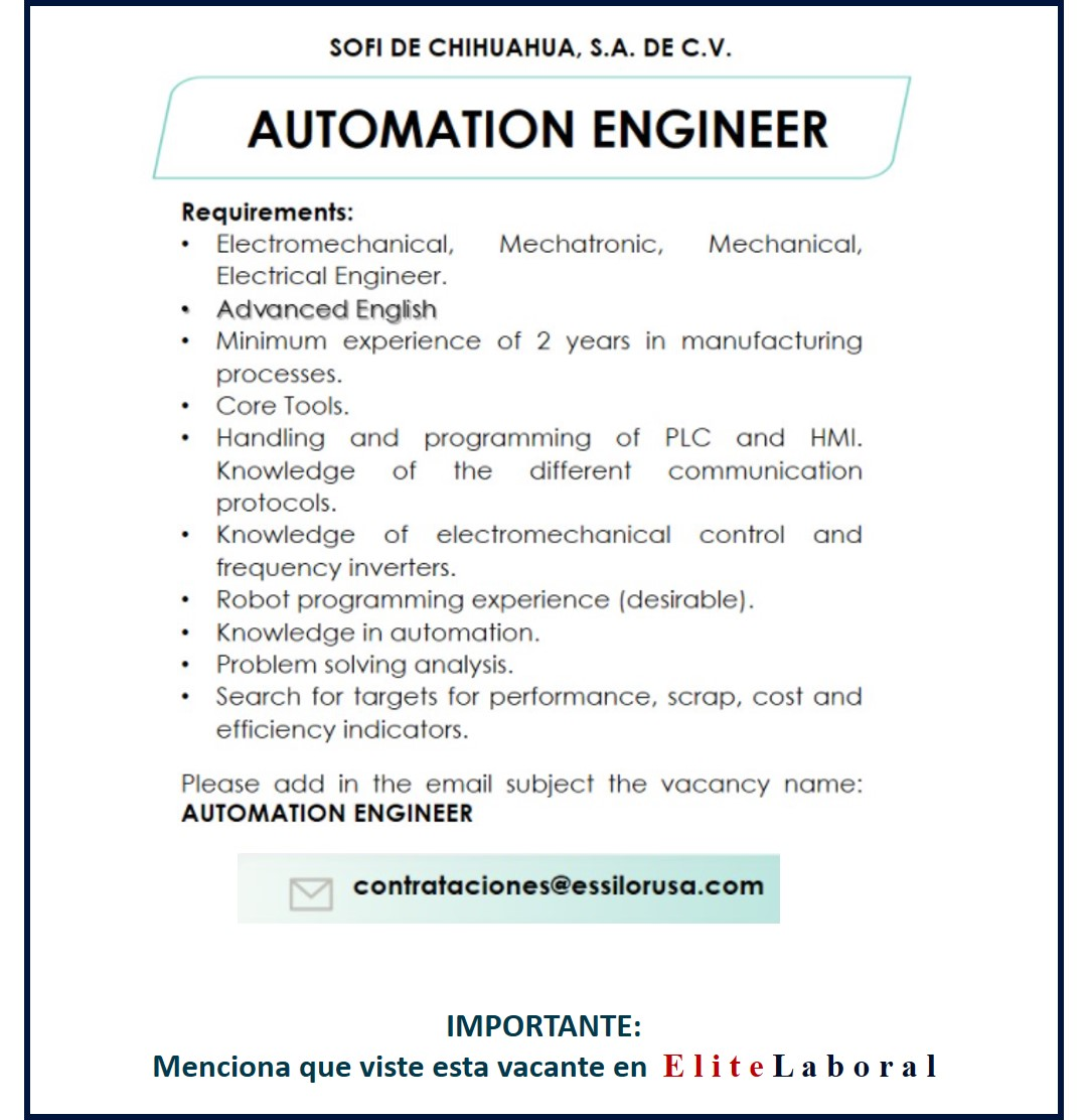VACANTE AUTOMATION ENGINEER
