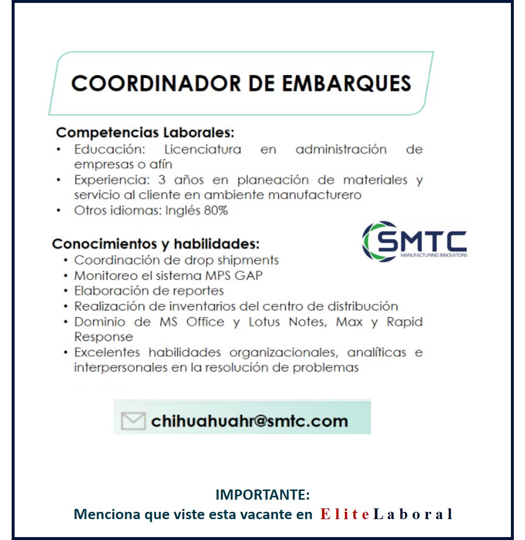 VACANTE COORDINADOR DE EMBARQUES