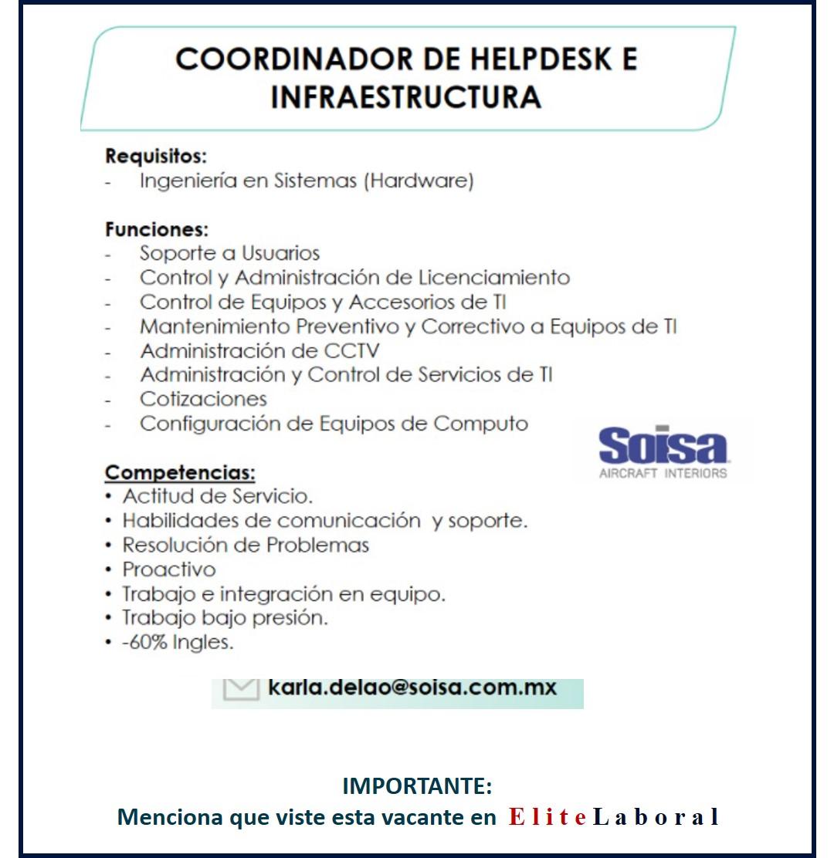 VACANTE COORDINADOR DE HELPDESK E INFRAESTRUCTURA