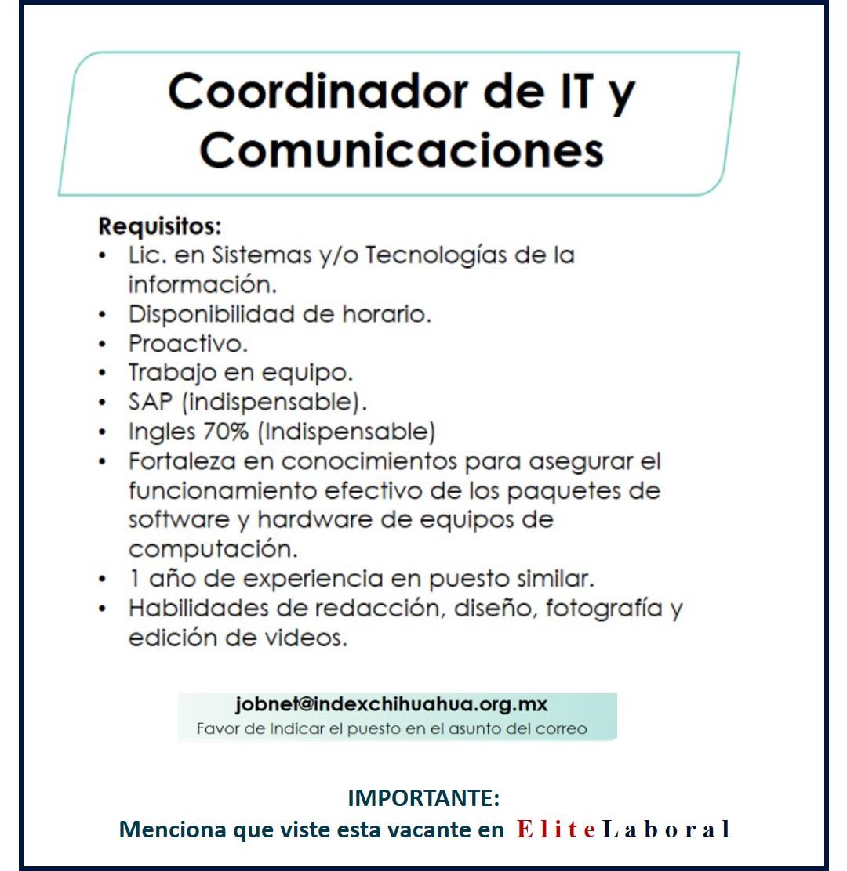 VACANTE COORDINADOR DE IT Y COMUNICACIONES