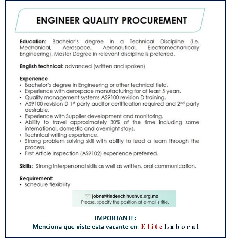 VACANTE ENGINEER QUALITY PROCUREMENT