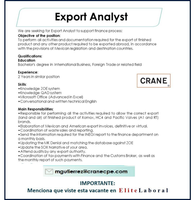 VACANTE EXPORT ANALYST