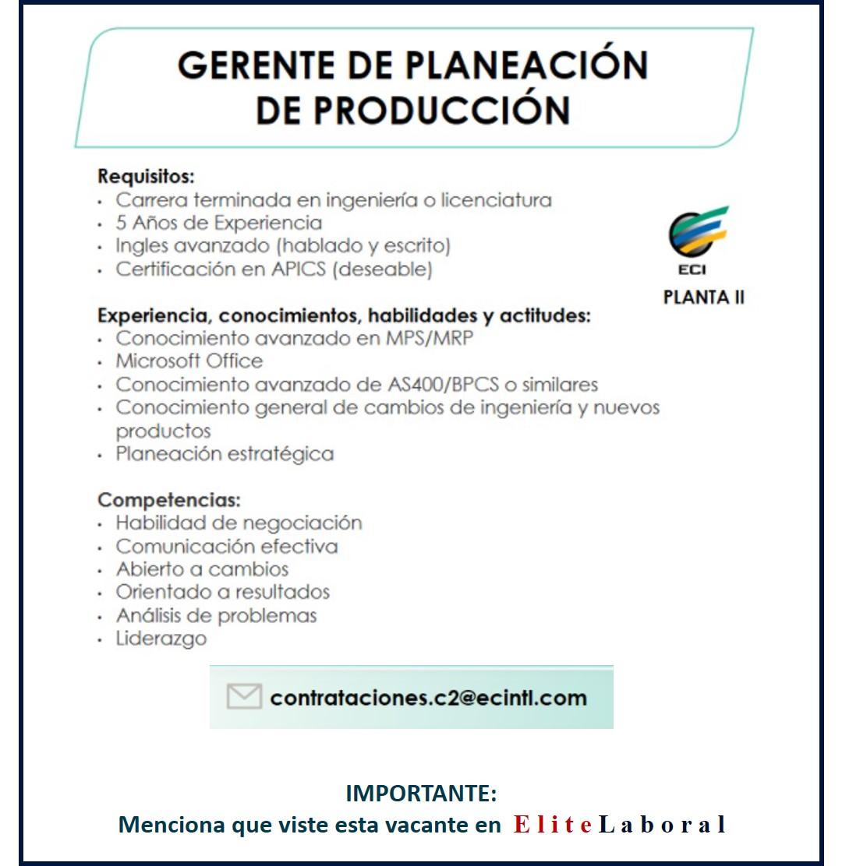 VACANTE GERENTE DE PLANEACION DE PRODUCCION