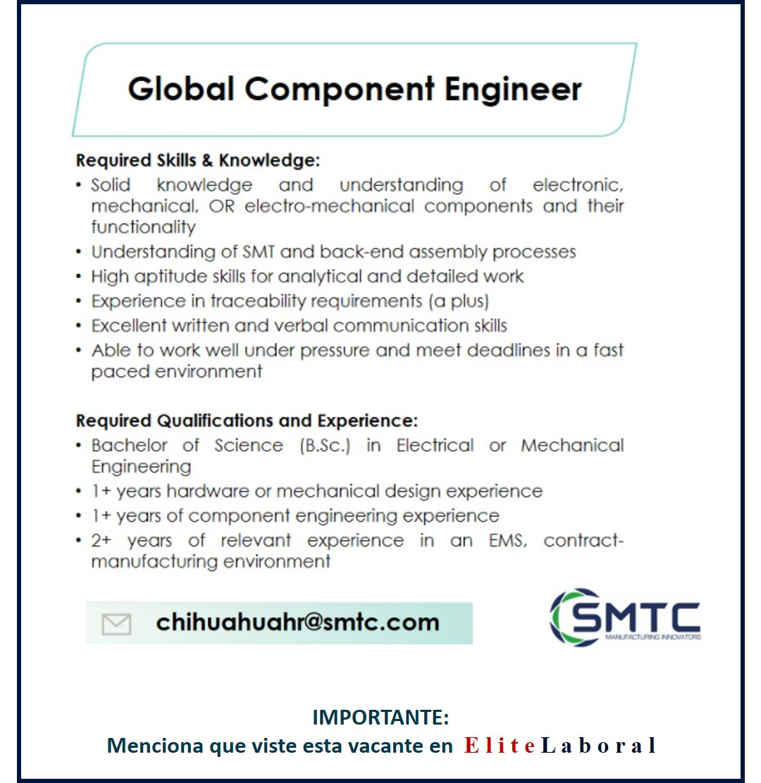 VACANTE GLOBAL COMPONENT ENGINEER