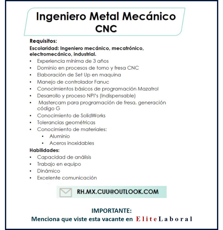 VACANTE INGENIERO METAL MECANICO