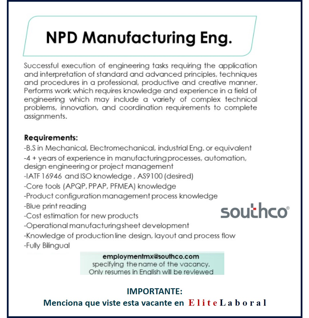 VACANTE NPD MANUFACTURING ENG.