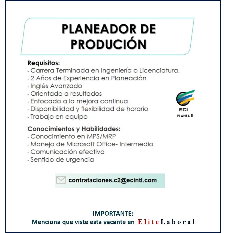 VACANTE PLANEADOR DE PRODUCCION