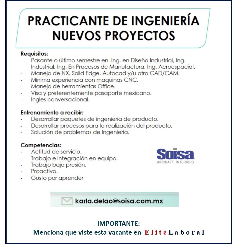 VACANTE PRACTICANTE DE INGENIERIA NUEVOS PROYECTOS