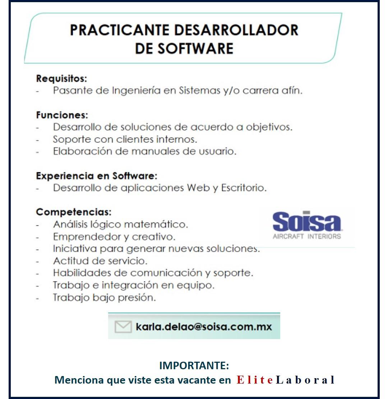 VACANTE PRACTICANTE DESARROLLADOR DE SOFTWARE