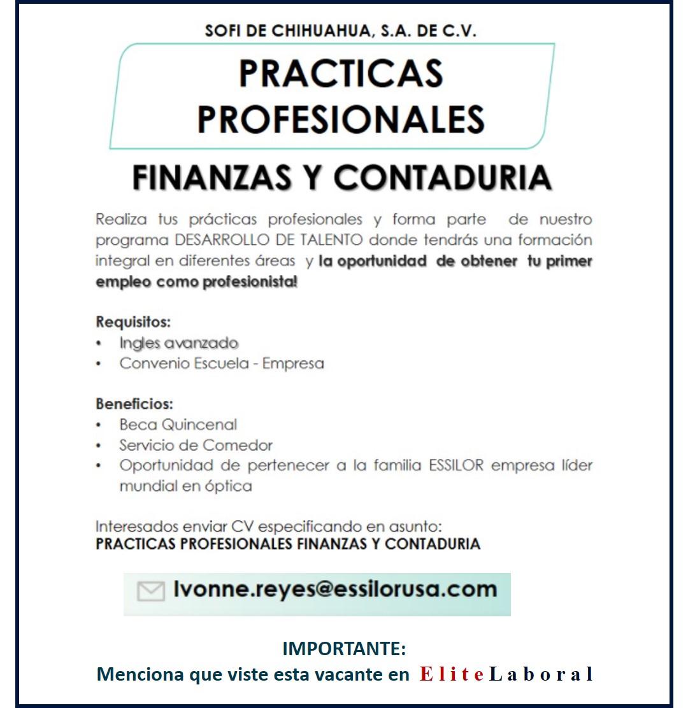 VACANTE PRACTICAS FINANZAS Y CONTADURIA
