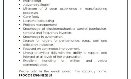 VACANTE PROCESS ENGINEER JR