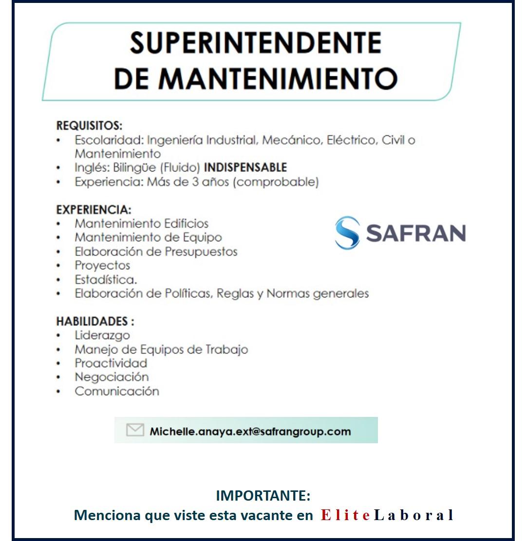 VACANTE SUPERINTENDENTE DE MANTENIMIENTO