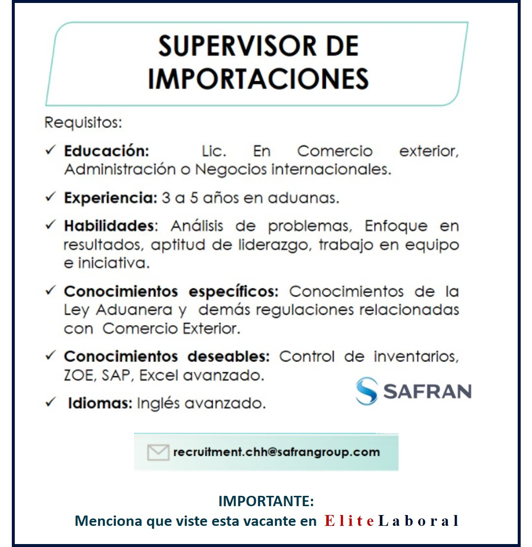 VACANTE SUPERVISOR DE IMPORTACIONES