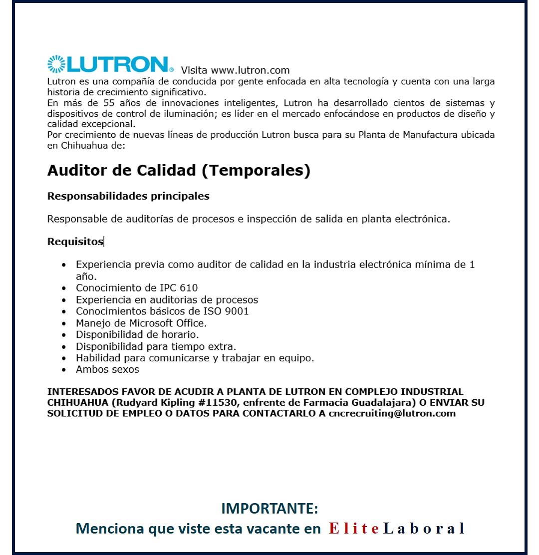VACANTE AUDITOR DE CALIDAD LUTRON