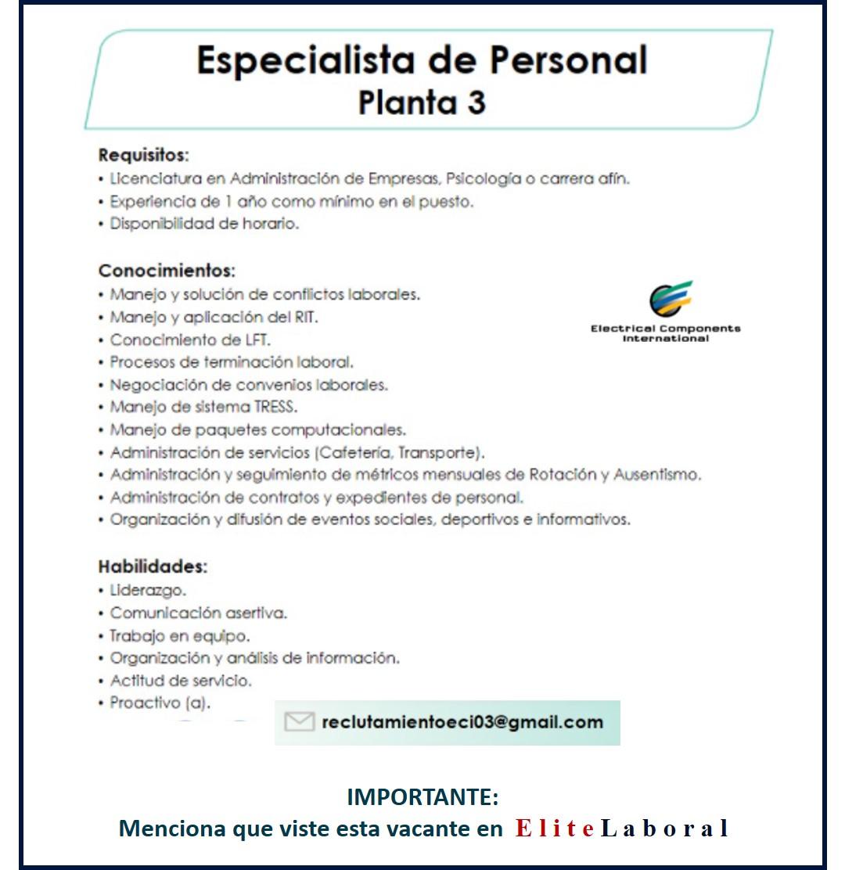 VACANTE ESPECIALISTA DE PERSONAL