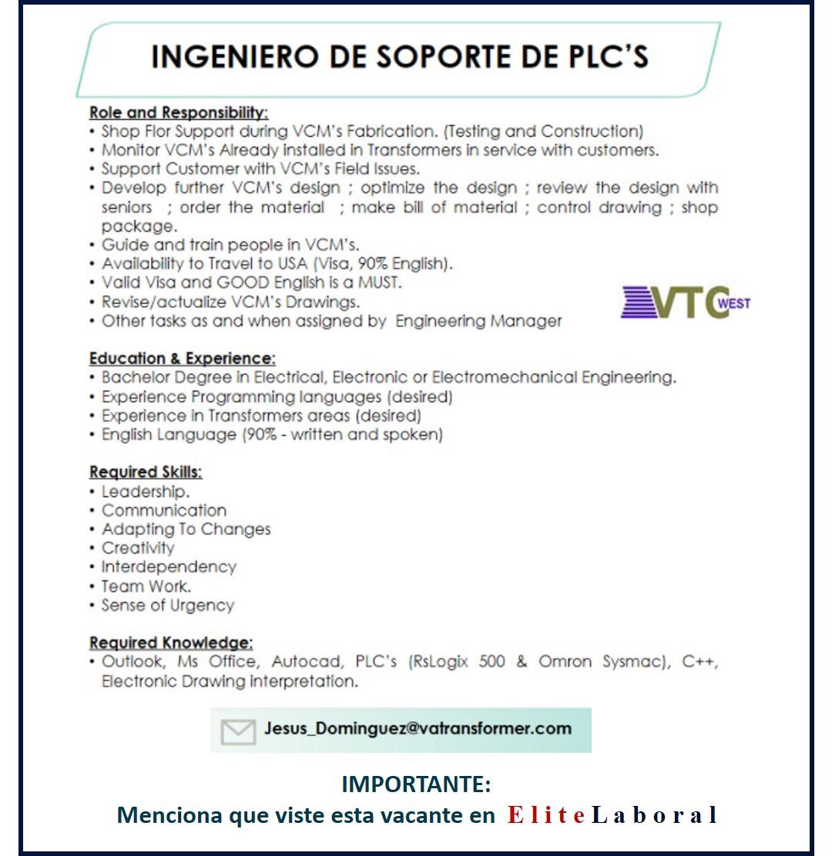 VACANTE INGENIERO DE SOPORTE DE PLCS