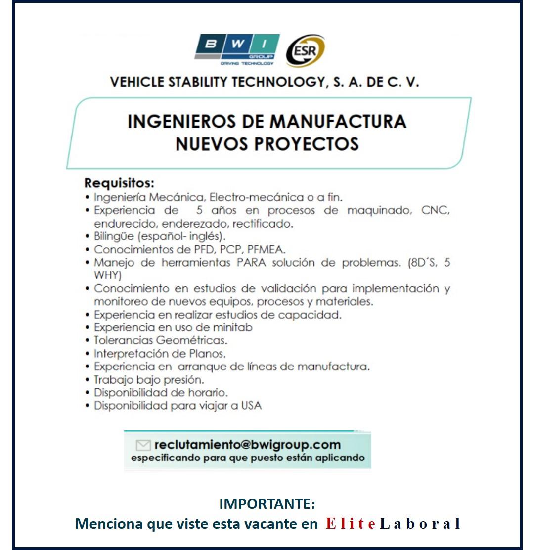 VACANTE INGENIEROS DE MANUFACTURA Y NUEVOS PROYECTOS