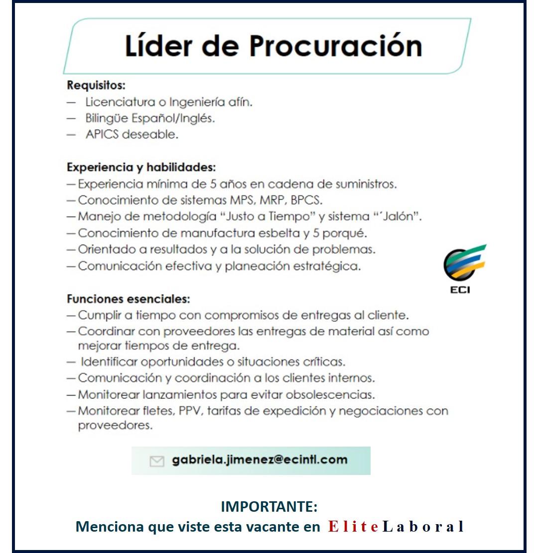 VACANTE LIDER DE PROCURACION