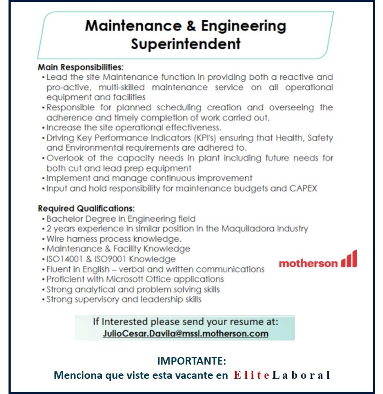 VACANTE MAINTENANCE & ENGINEERING SUPERINTENDENT