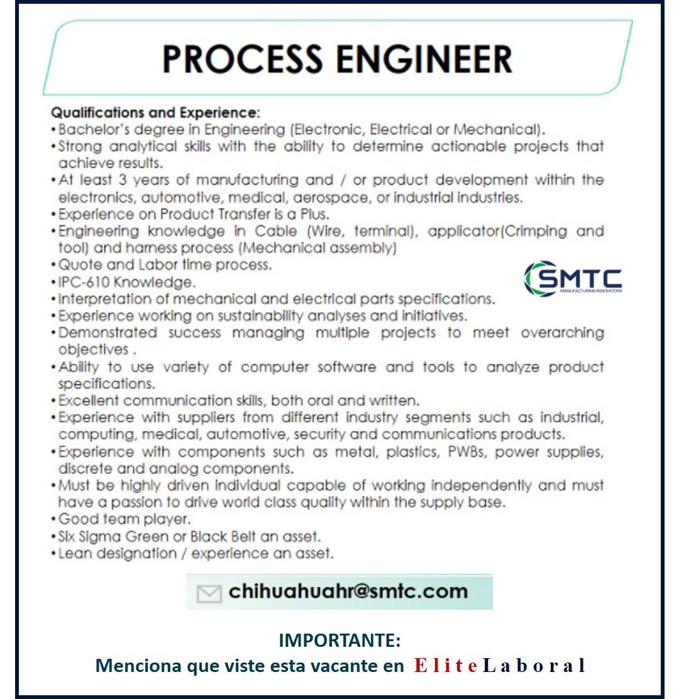 VACANTE PROCESS ENGINEER