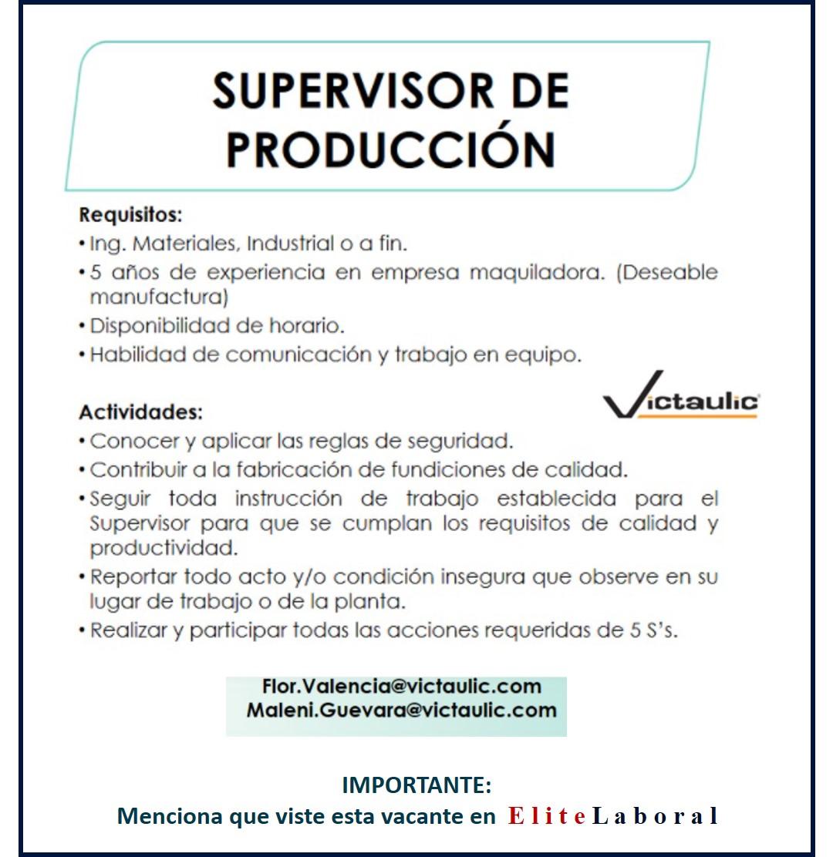 VACANTE SUPERVISOR DE PRODUCCION